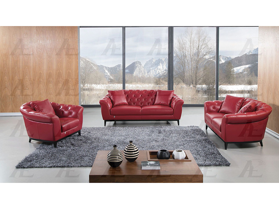 Red Full Leather Sofa Set For