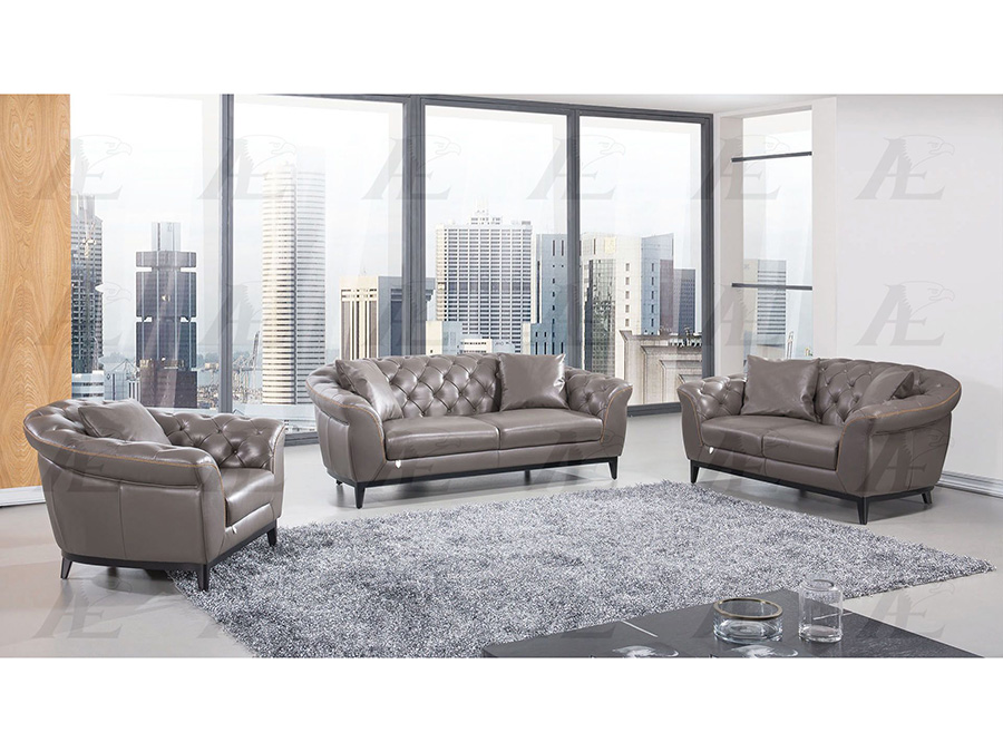 Taupe Full Leather Sofa Set For