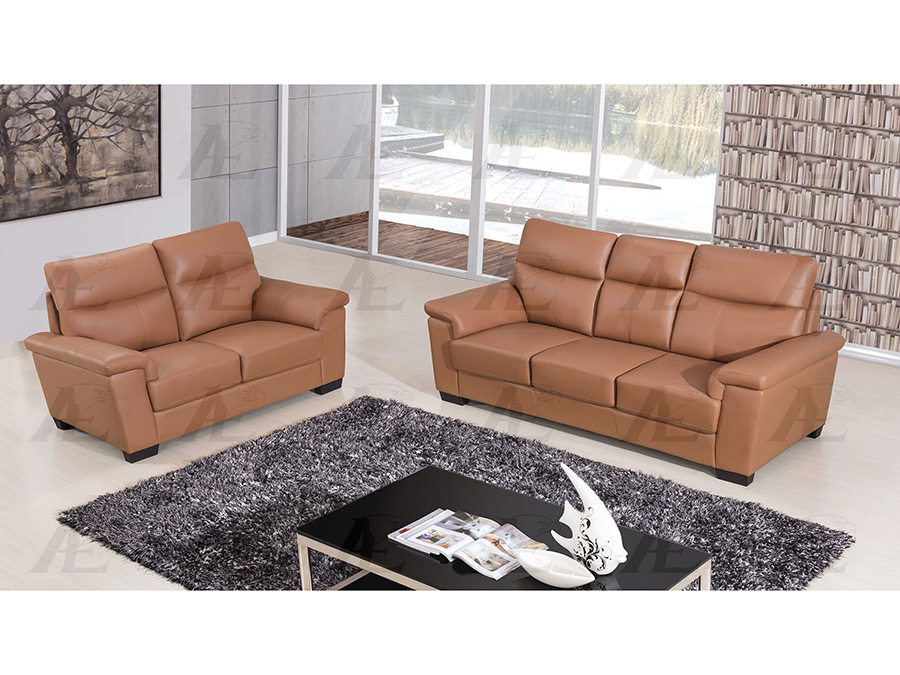 Dark Tan Genuine Leather Sofa Set