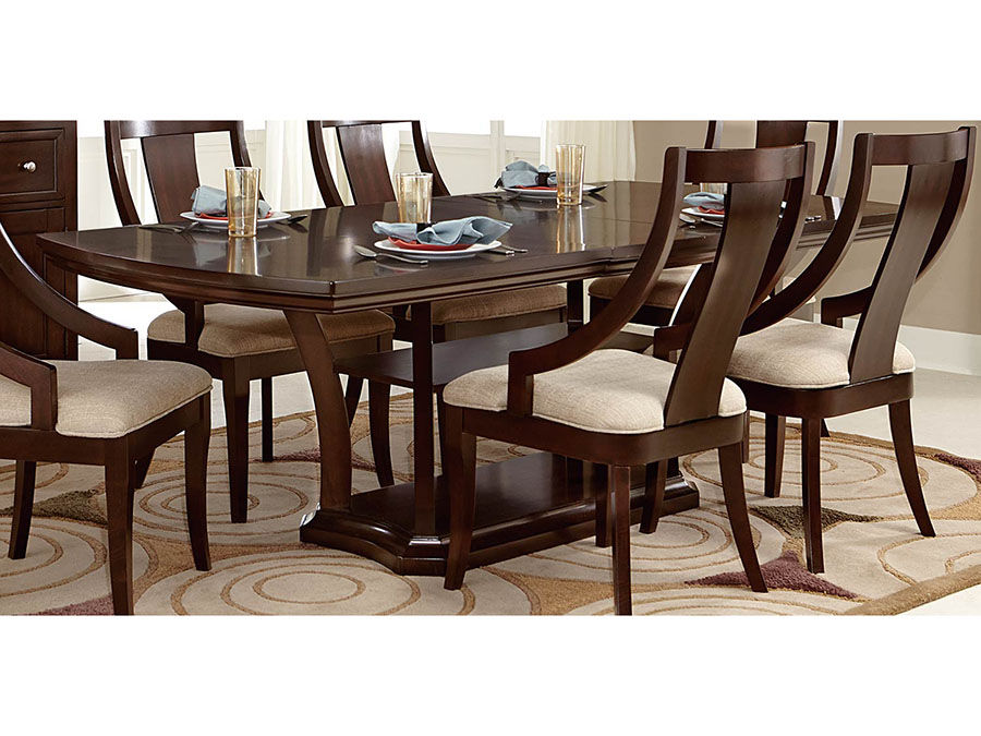 Aubriella Pedestal Dining Table in Cherry