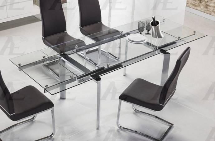 Clear Glass Top Extendable Dining Table Chrome Legs Shop For