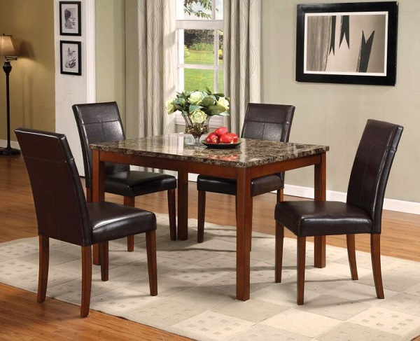Portland 5pcs Faux Marble Cherry Wood Dining Table Set Shop For Affordable Home Furniture Decor Outdoors And More