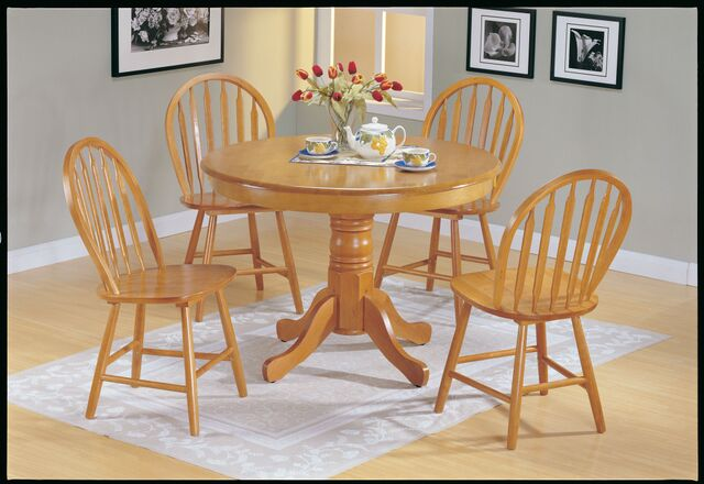 Farmhouse 5Pcs Oak Wood Round Dining Table Set - Shop For Affordable Home Furniture, Decor, Outdoors And More