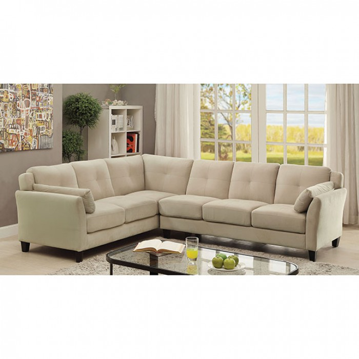 Beige Fabric Sectional Sofa Couch