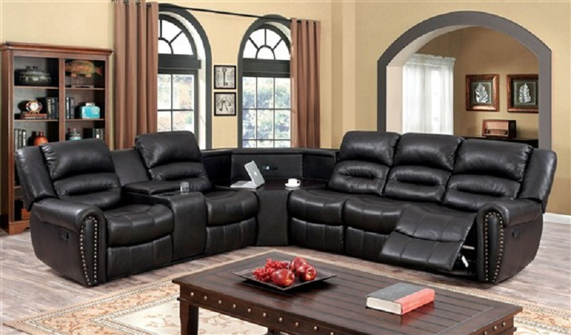 Wales Transitional Dark Brown Leath-Aire Fabric Sectional Sofa with Chair