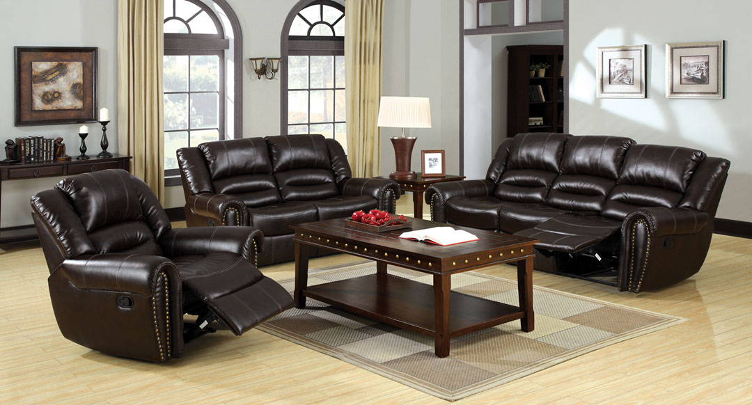 Dudhope Rustic Dark Brown Bonded Leather Recliner Sofa