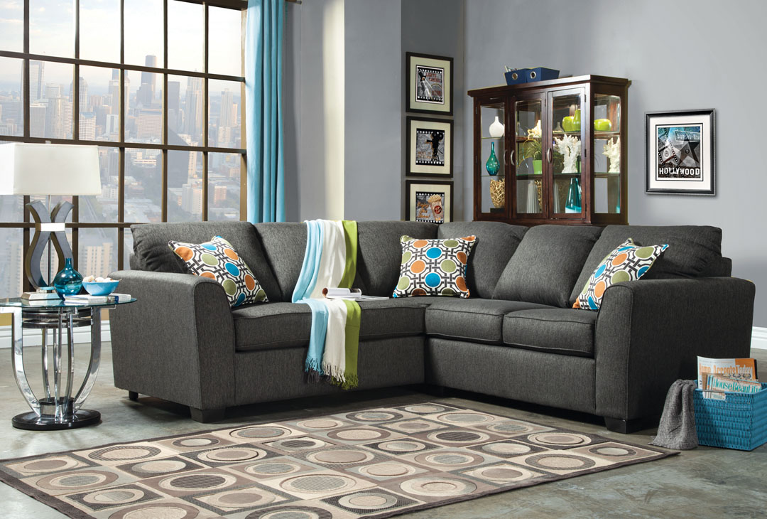 Gray Fabric Sectional Sofa Couch