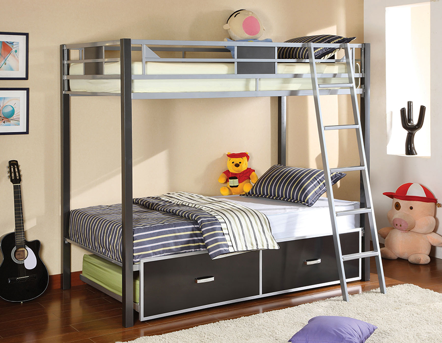 Cletis Silver Metal Twin Over Bunk Bed With Trundle