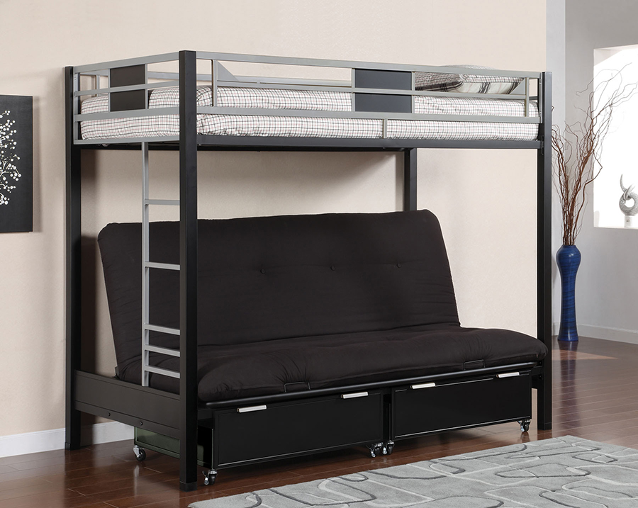 Clifton Twin Loft Bed Futon Base With 6 Mattress