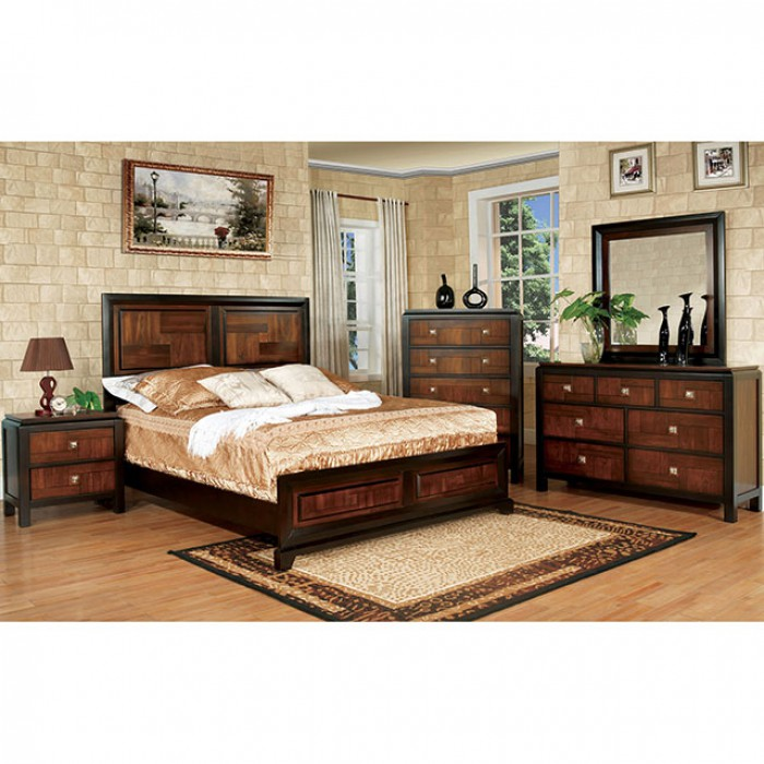 Patra transitional acacia walnut queen bed muuduu for Table queens acacia