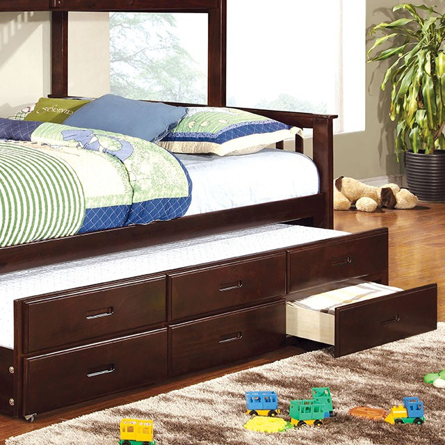University Dark Walnut Twin Over Queen Bunk Bed With Trundle - Shop ...