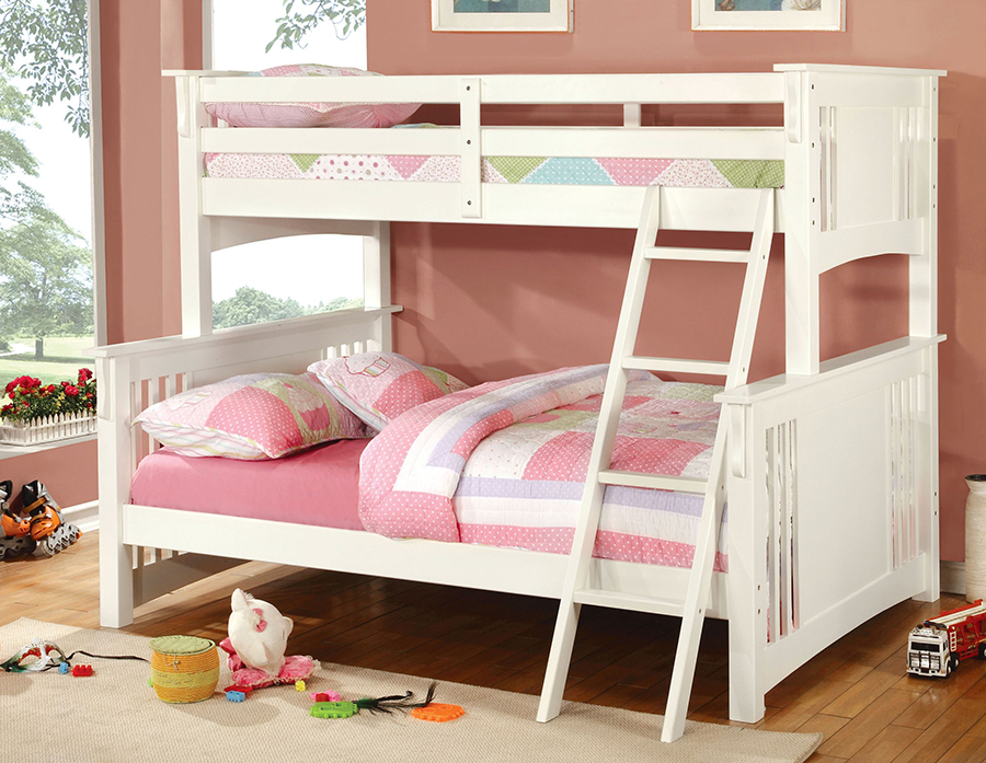 spring creek mission white twin over full bunk bed shop for affordable home furniture decor. Black Bedroom Furniture Sets. Home Design Ideas
