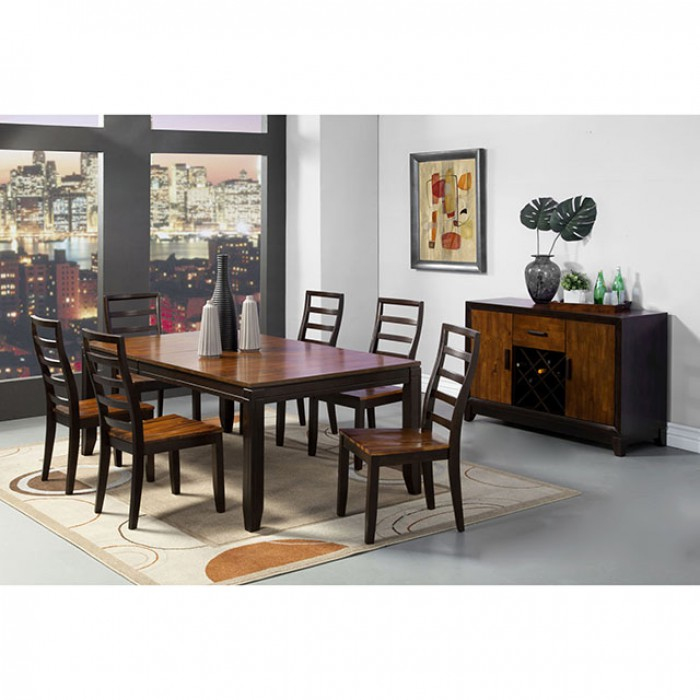 San isabel transitional acacia espresso dining table set for Table queens acacia