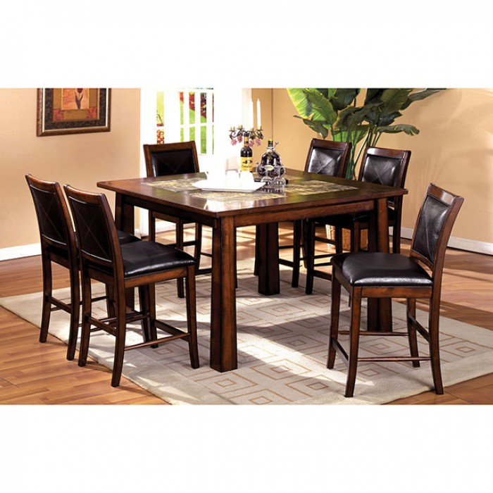 Living Stone Tobacco Oak Counter Height Table Set