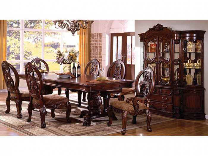 Merveilleux Tuscany Traditional Antique Cherry Dining Table Set