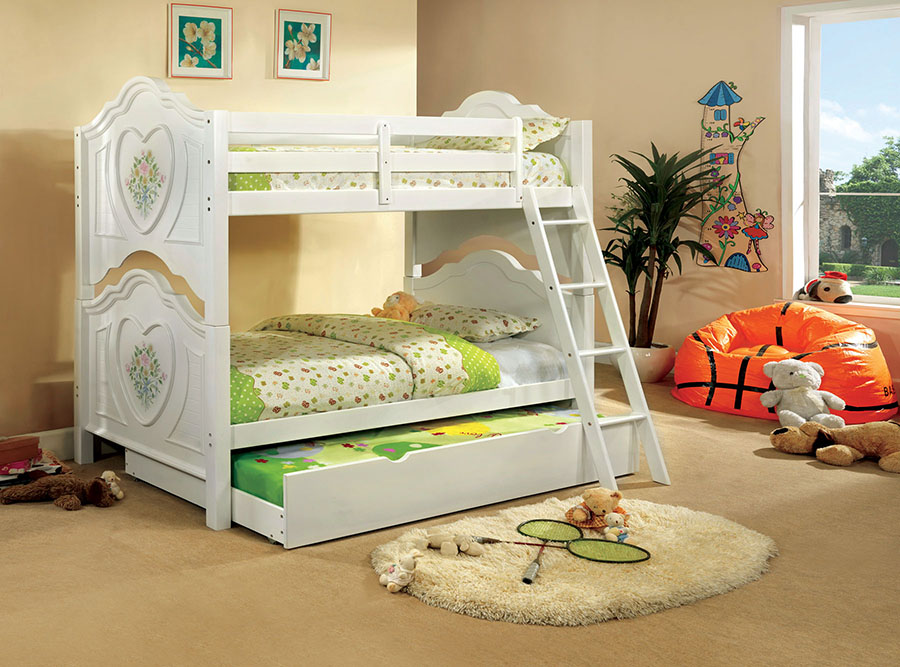 Isabella Iii White Twin Over Twin Bunk Bed With Trundle Shop For