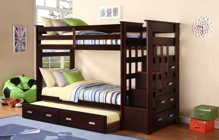 Twin Twin Bunk Bed In Espresso