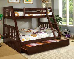 canberra dark walnut twin over full bunk bed