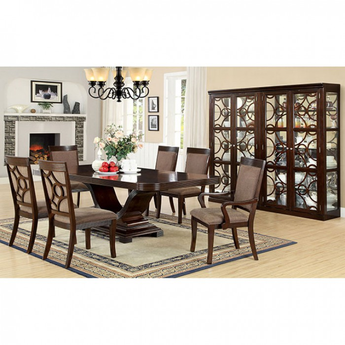 . Woodmont Contemporary Walnut Finish Dining Table Set