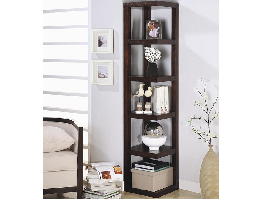 Cuccino Corner Bookcase With Open Shelves
