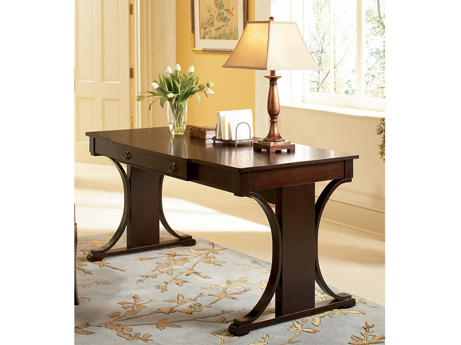 Cherry table desk with keyboard drawer arm chair