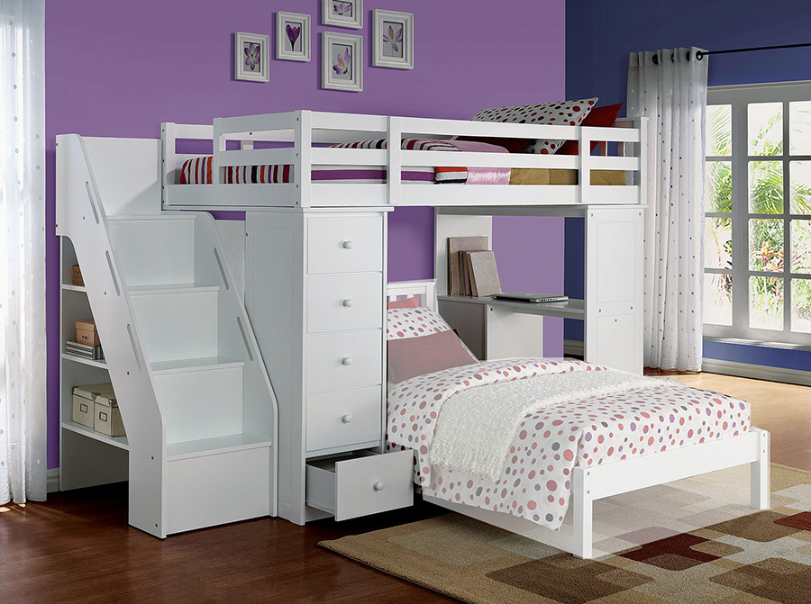 Freya White Twin Loft Bed with Bookcase Ladder - Shop for Affordable ...