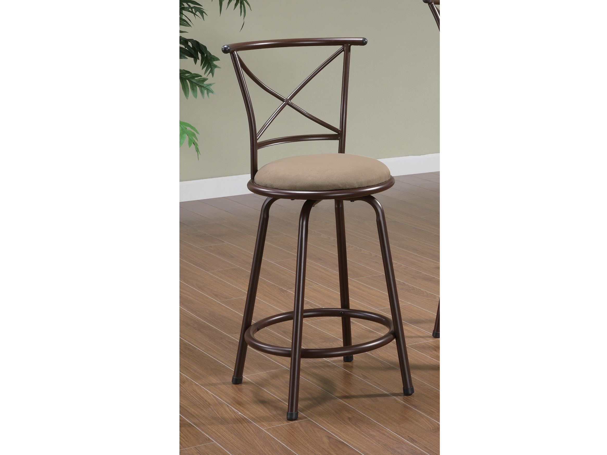 2pcs 24 Inch X Back Brown Metal Counter Height Stool