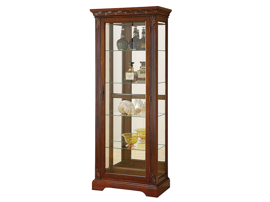 Addy Cherry Curio Cabinet With Side Frame
