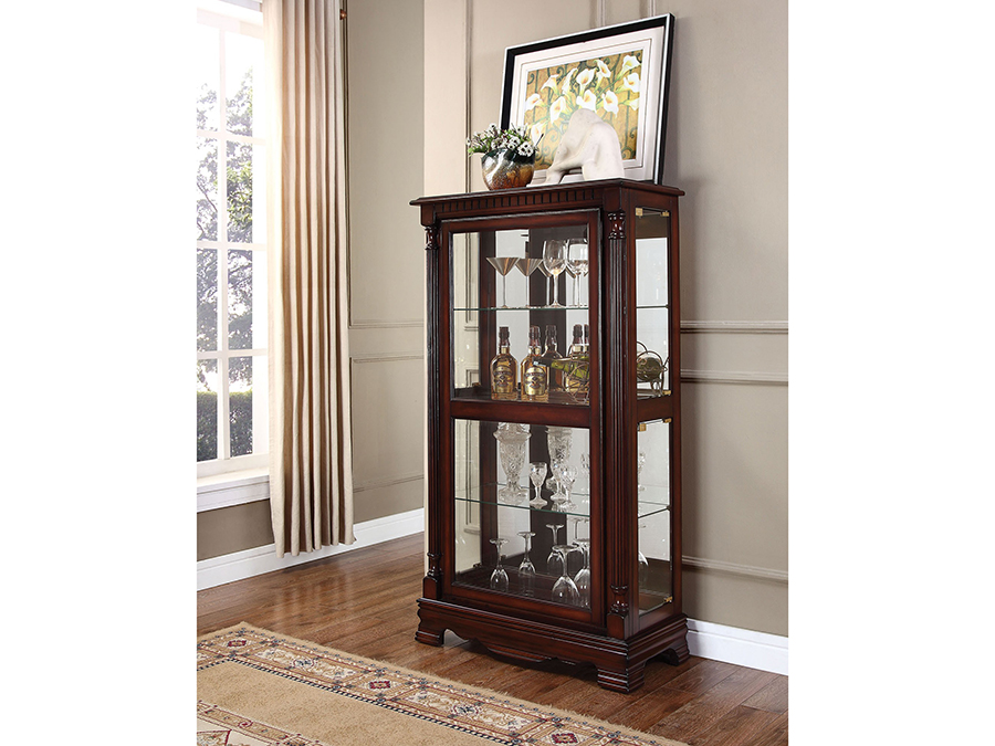 Carrie Cherry Curio Cabinet With 4 Sides Doors