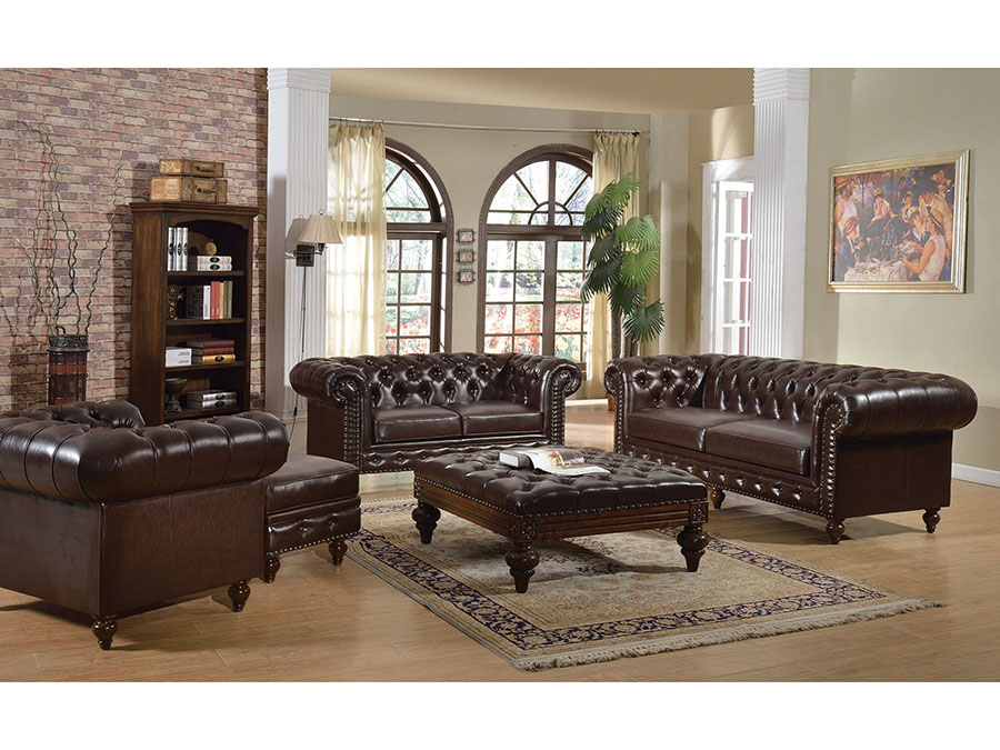 Shantoria 2Pcs Dark Brown Bonded Leather Sofa Set Loveseat