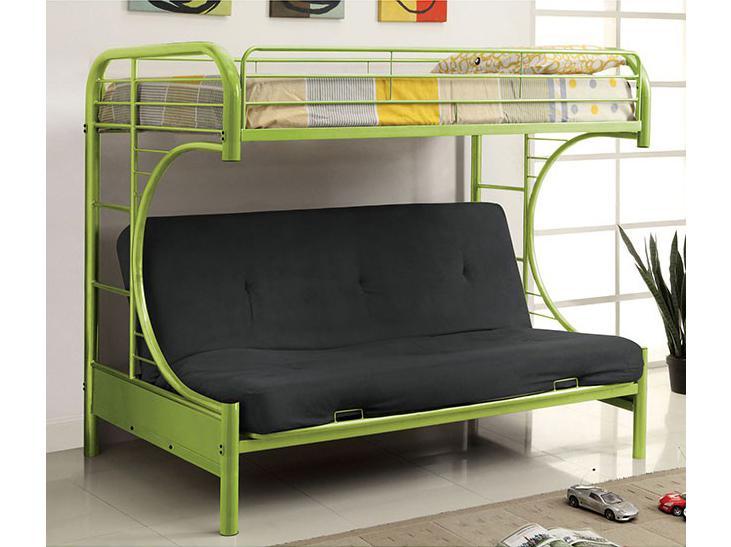 Rainbow Twin Bunk Bed With 6 Black Futon Mattress