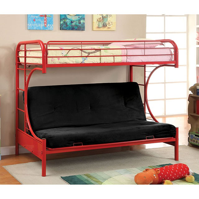 Rainbow Twin Bunk Bed With 6 Black Futon Mattress