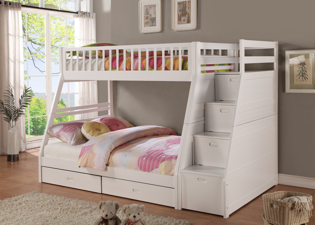 Twin Full Bunk Bed With Staircase Drawers Shop For Affordable