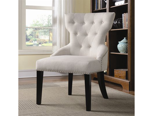 White Button Tufted Accent Chair With Nail Head Trim