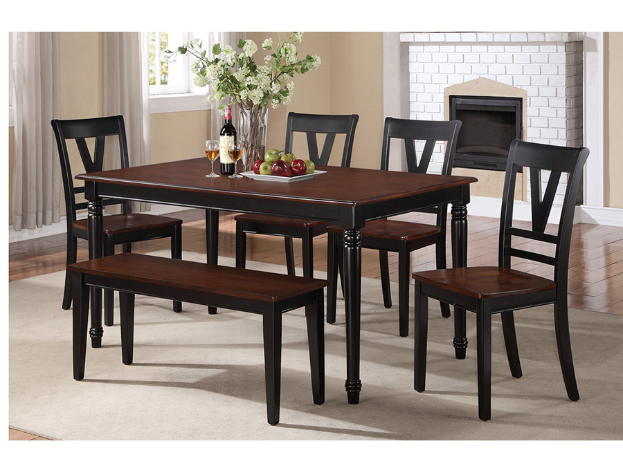 Rubber Wood Dining Set In Cherry/Black