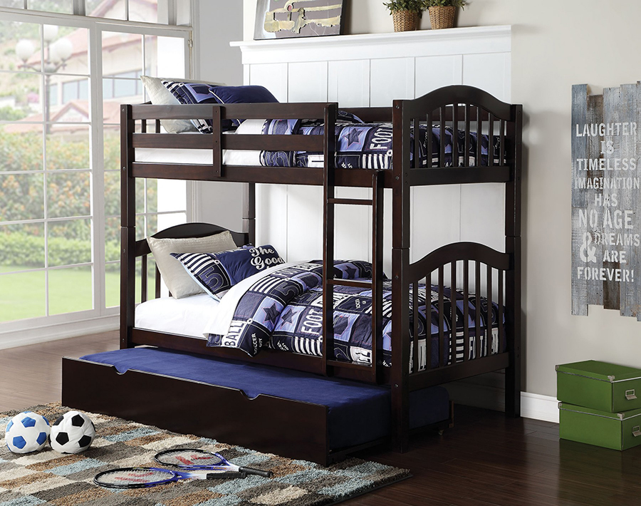 Heartland Espresso Twin Twin Bunk Bed With Trundle Shop For