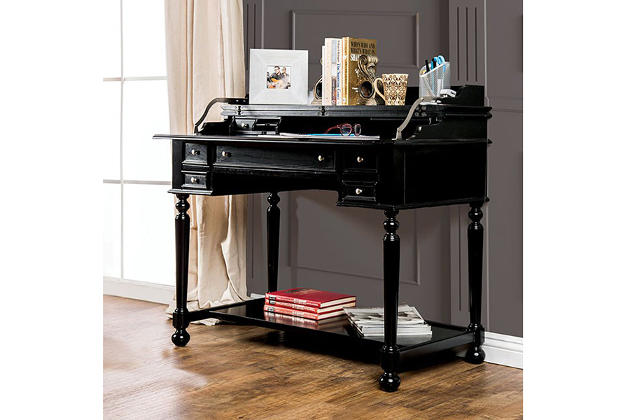 Lexden Black Secretary Desk With Fold Out Writing Tray