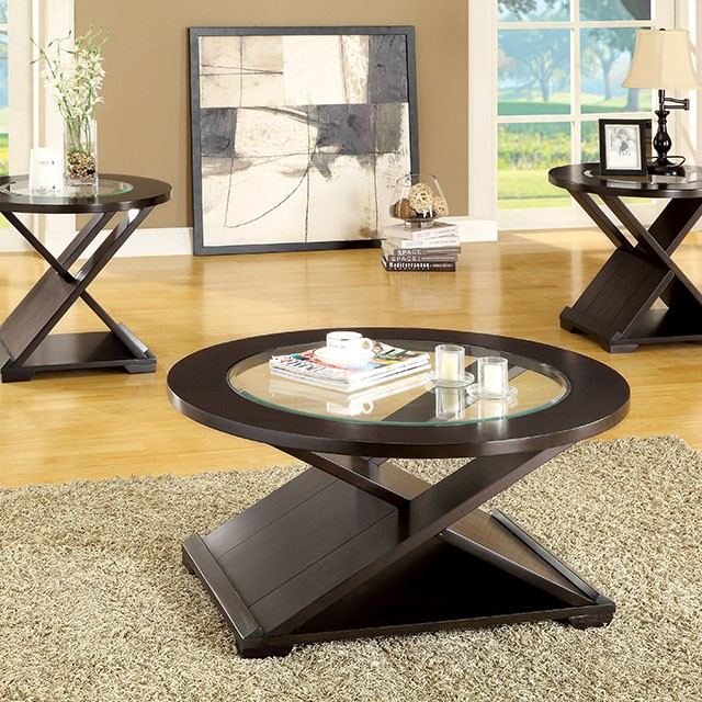 Orbe Contemporary Pieces Espresso Finish Coffee Table Set Shop - Espresso finish coffee table set