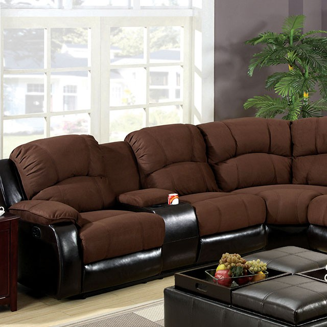Wolcott Transitional Two Tone 2 Recliners Sectional Sofa Couch