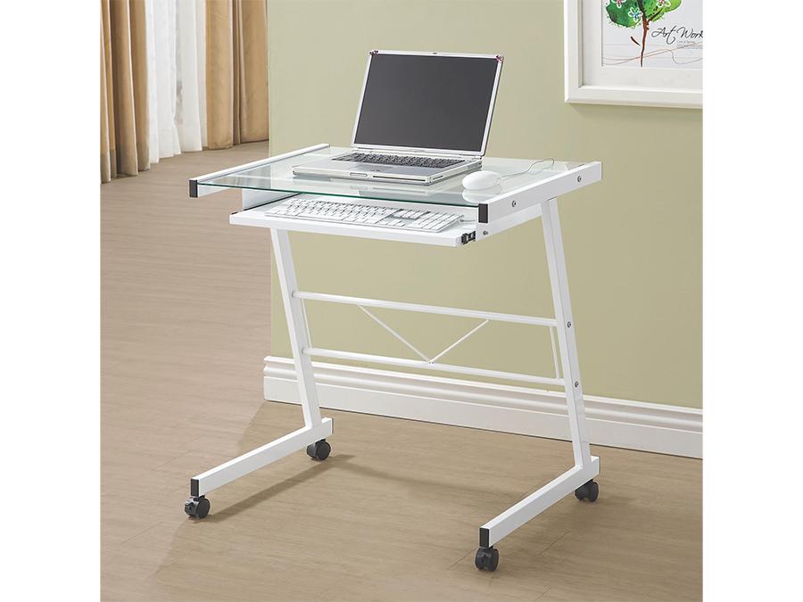 White Computer Desk W Keyboard Tray