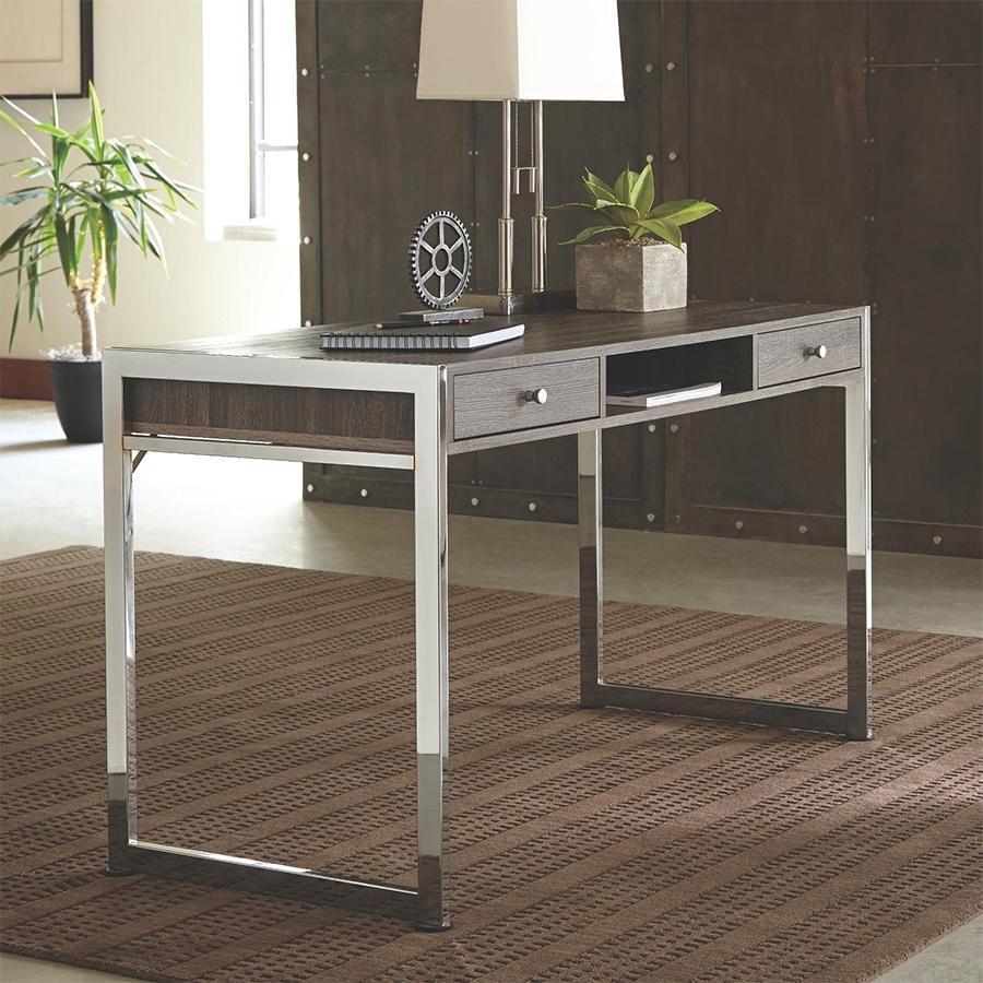 Dark Grey Office Desk With Chrome Lges