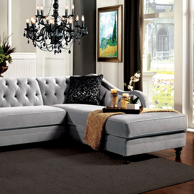 Rotterdam Traditional Gray Premium Fabric Sectional Sofa Couch