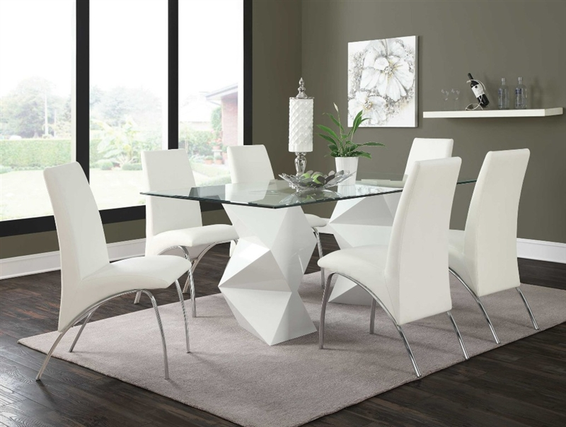 White Rectangular Glass Top Dining Table Chair Set Shop For Affordable Home Furniture Decor Outdoors And More