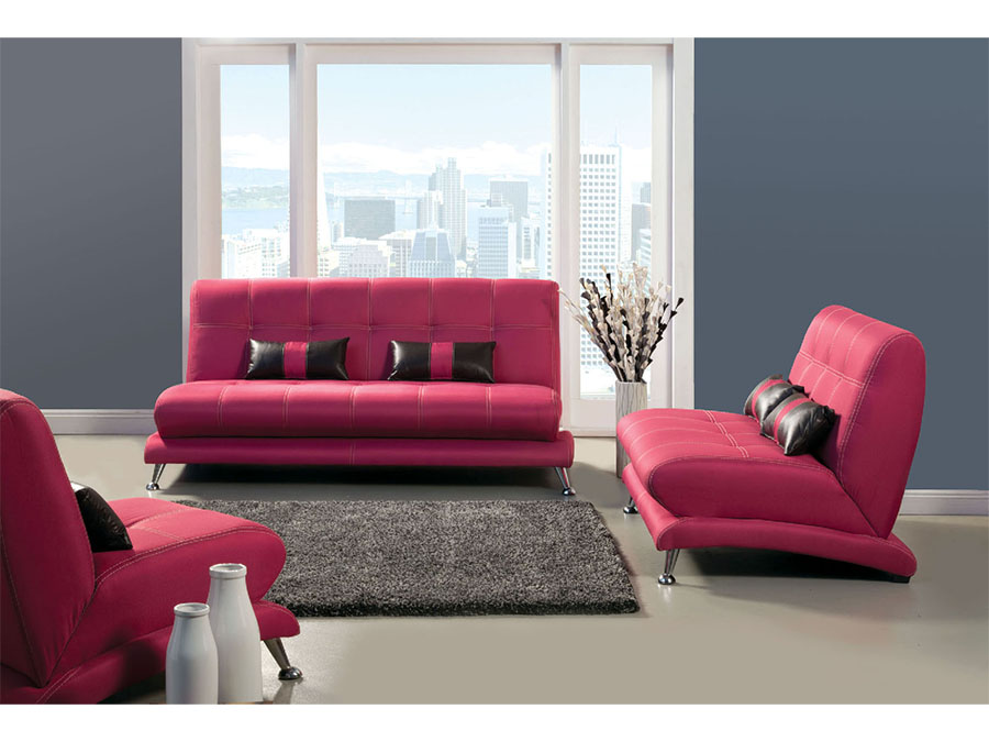 Artem Fuchsia Fabric 2Pcs Sofa Set