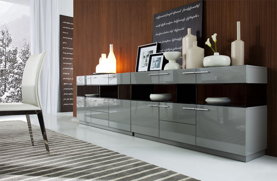 Wallace Modern Grey High Gloss Buffet