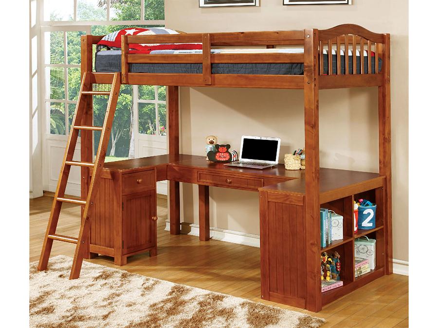 Dutton Oak Twin Workstation Loft Bed With Built In Desk Shop For