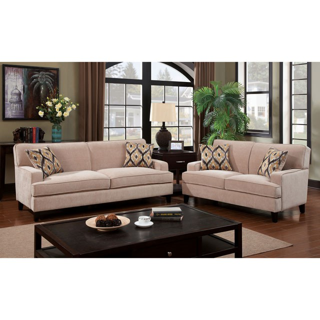 Francis ivory transitional fabric sofa set shop for for Ivory couch living room ideas