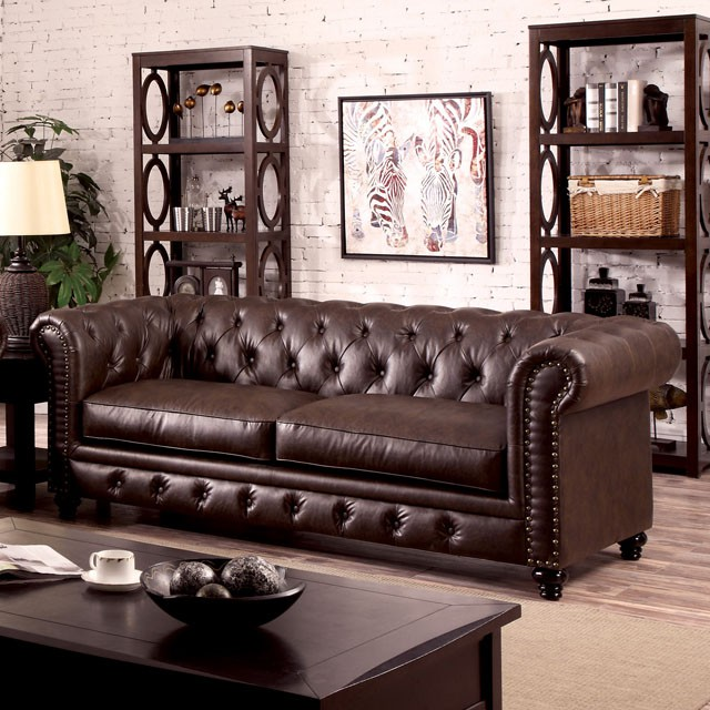 Stanford Brown Leatherette Sofa Shop For Affordable Home Furniture