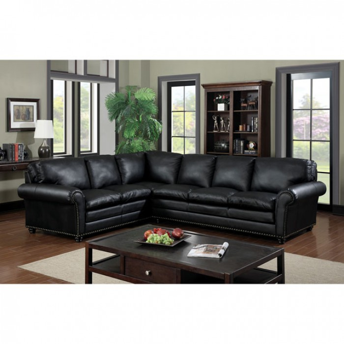 Payette Black Bonded Leather Match Sectional Sofa Couch