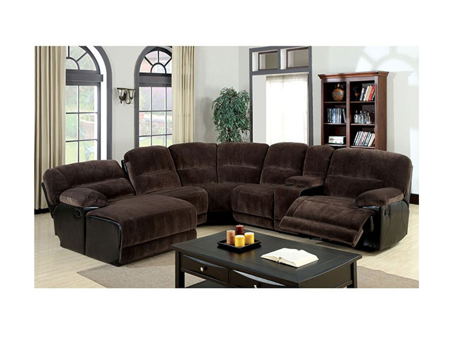 Glasgow Dark Brown Microfiber Recliner Sectional Sofa Couch - Shop ...